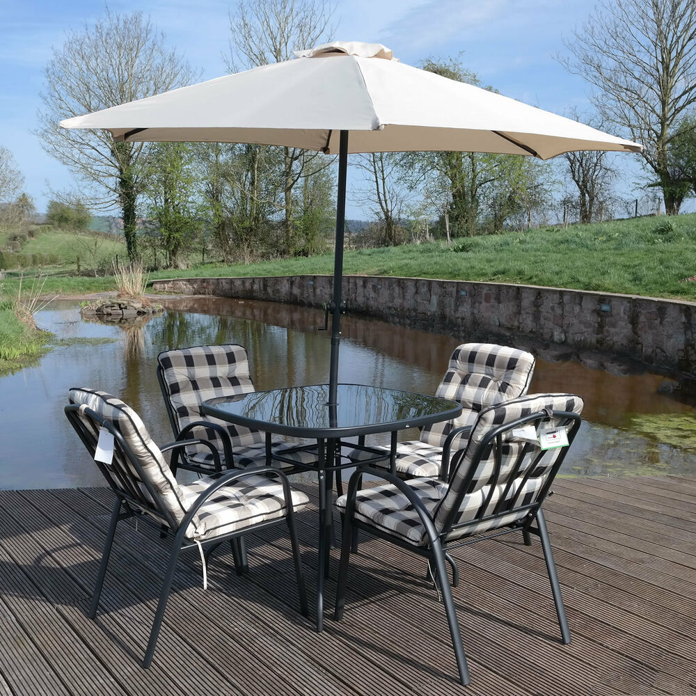 4 seater garden patio furniture set outdoor table parasol for Outdoor patio table set
