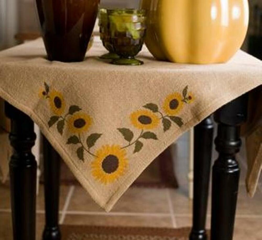 Sunflower Natural Burlap Table Cloth Topper 40x40