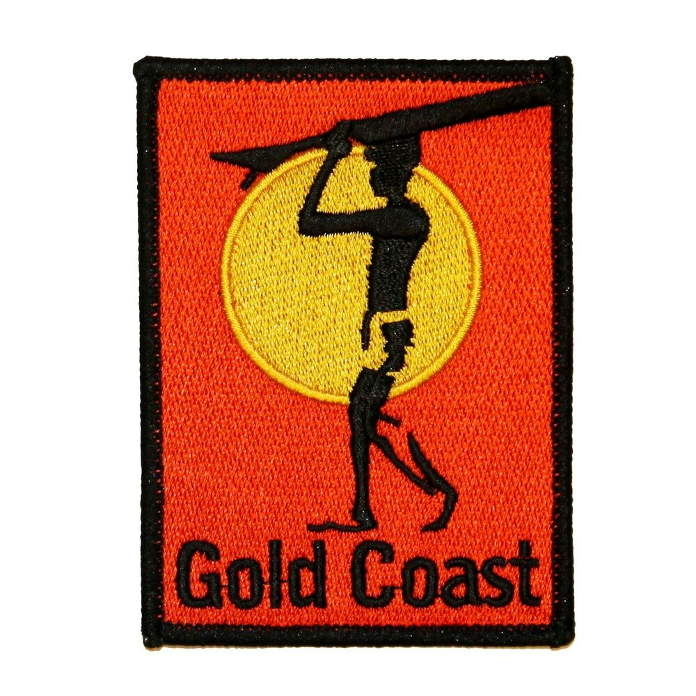 Gold Coast Surfboard Patch Beach Bum Ocean Surf Embroidered Iron On Applique | EBay