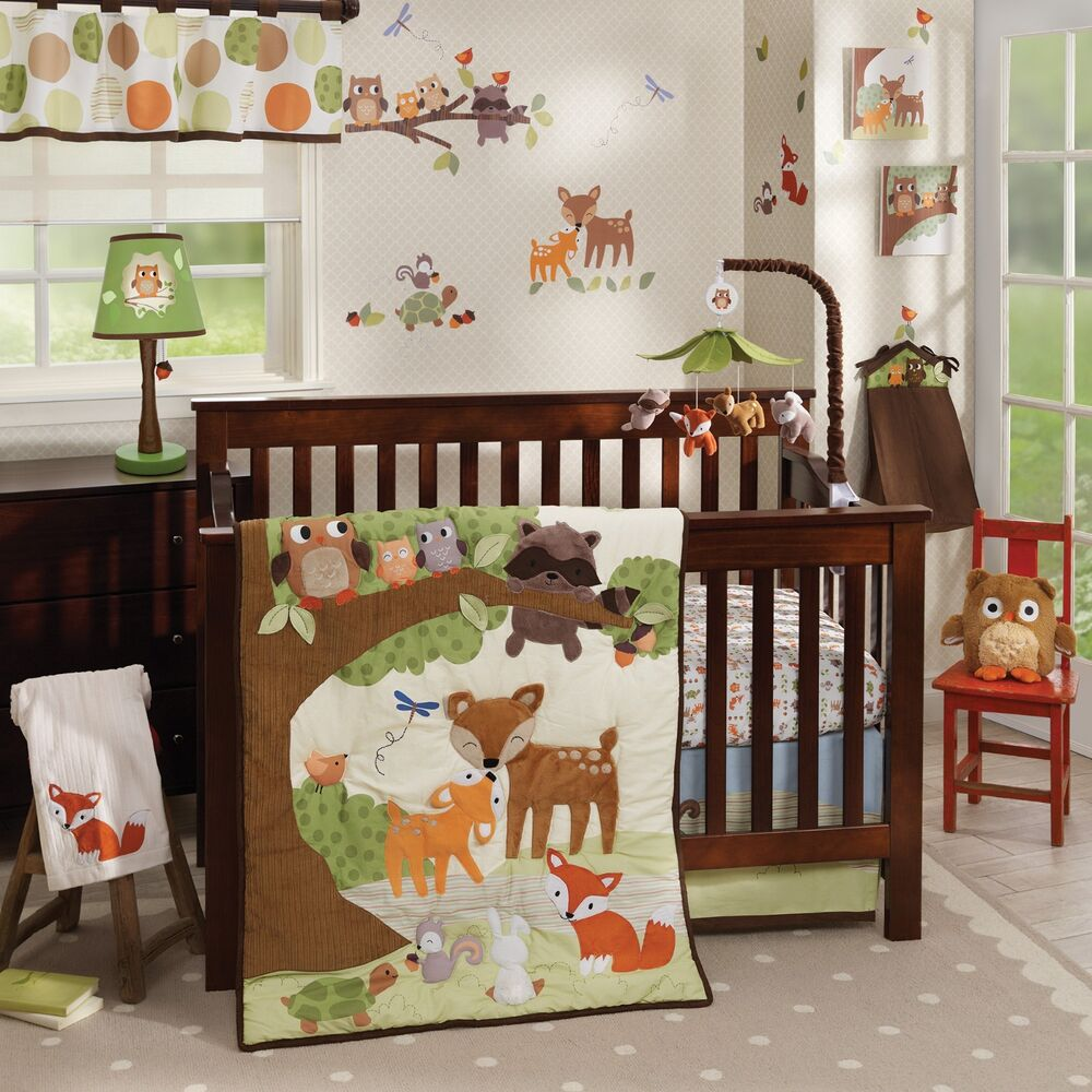 Baby cribs big w - Lambs Ivy Woodland Tales 6 Piece Baby Crib Bedding Set W Bumper Mobile New