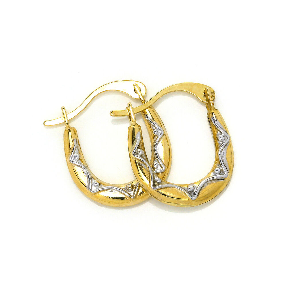9ct Yellow Gold & White Gold Pattern Small Creole Hoop ...