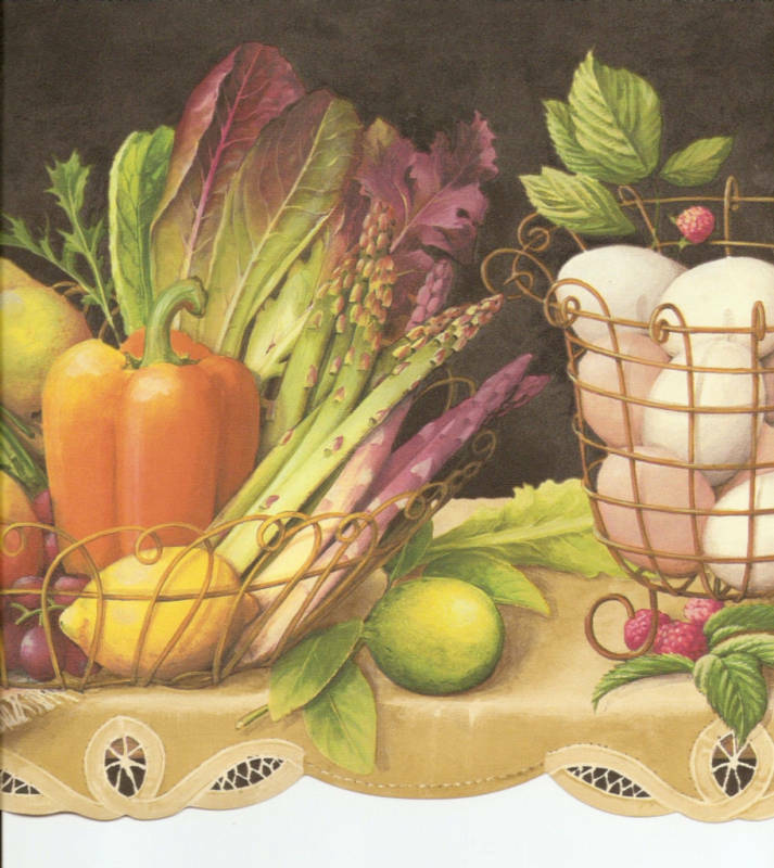 Country Kitchen Wallpaper Borders: FRUIT VEGETABLES IVY ON SHELF BLK COUNTRY KITCHEN