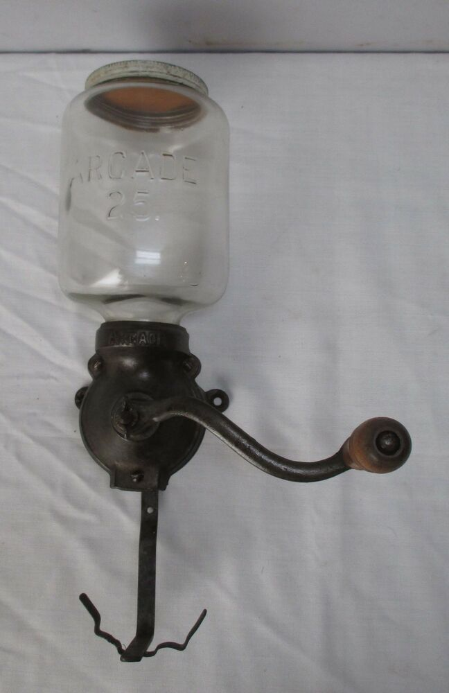 Antique Cast Iron Coffee Grinder : Antique coffee mill grinder cast iron glass quot arcade