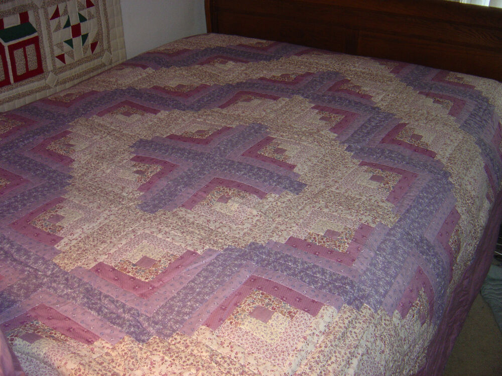 Log Cabin Quilt Pattern Free Queen Size : AMISH LILAC
