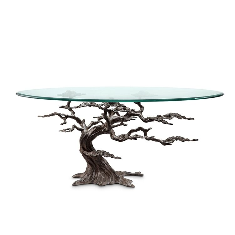 Tree Coffee Table Dk3: Coastal Artistic Cypress Tree Glass Accent Coffee Table
