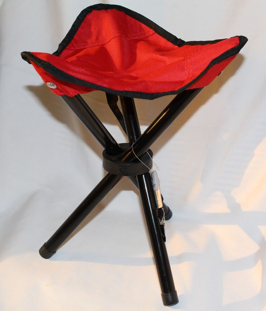 Little Camping Stool Red Triangle Seat 3 Legs 33cm
