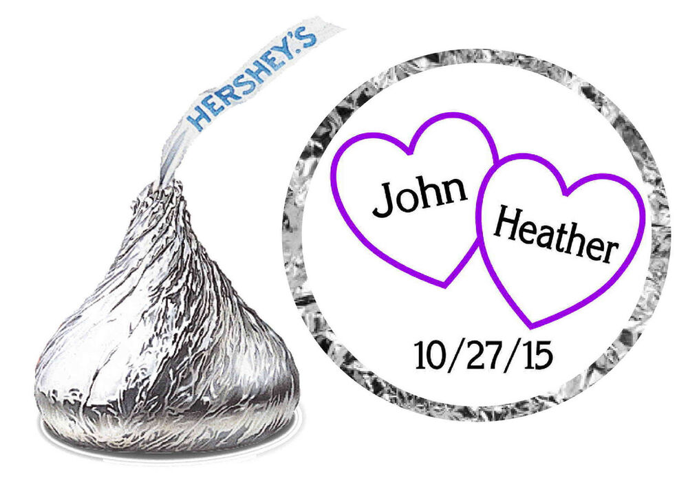 Purple hearts wedding favors hershey kiss labels personalized ebay