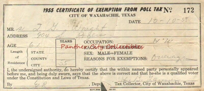 1955 Certificate of Exemption From Poll Tax City of Waxahachie Texas ...