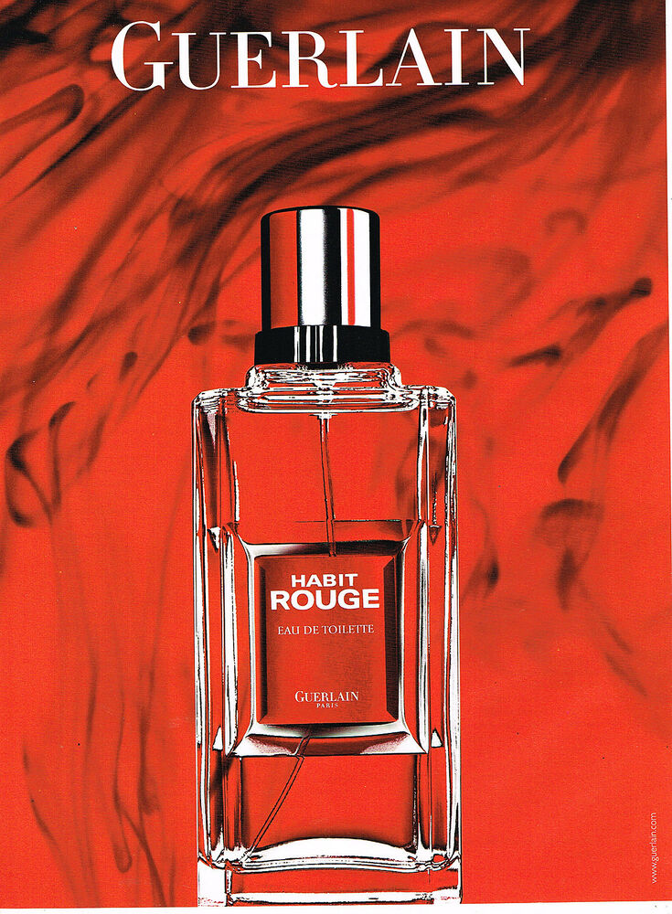 025 Eau Publicite Advertising Habit Guerlain De Toilette Homme 2008 RougeEbay ED29HWI