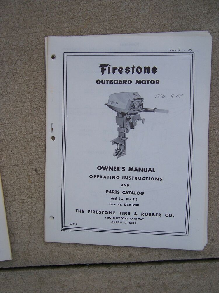 1960 firestone outboard motor 8 hp owner manual parts for Outboard motor parts online