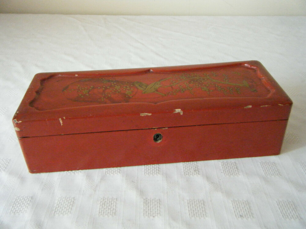 Wooden Glove Box ~ Vintage art deco japanese red lacquered glove box bird