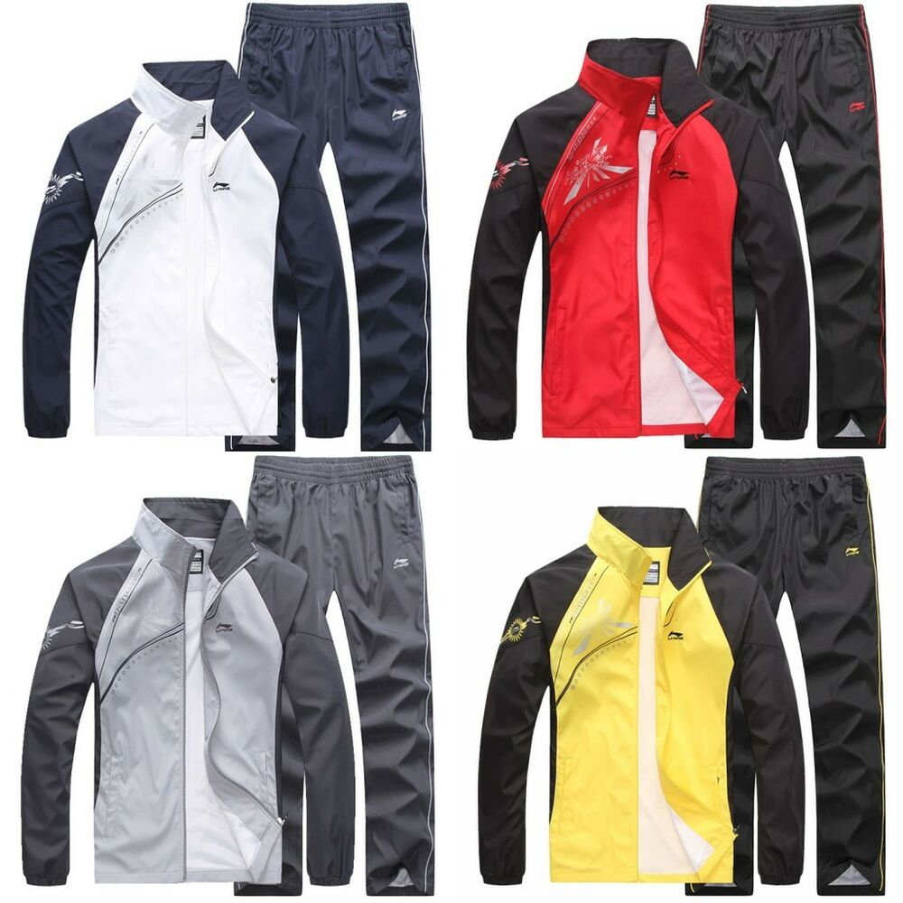 Casual Mens Spring Autumn Activewear Jogging Suits Jacket Pants ...