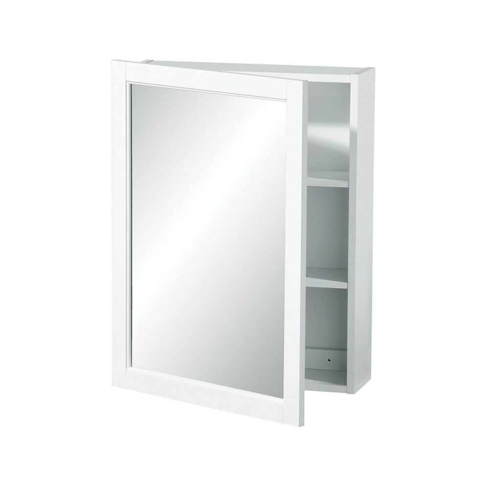 New white wood wall mounted mirrored cabinet storage flat for Armoire salle de bain murale