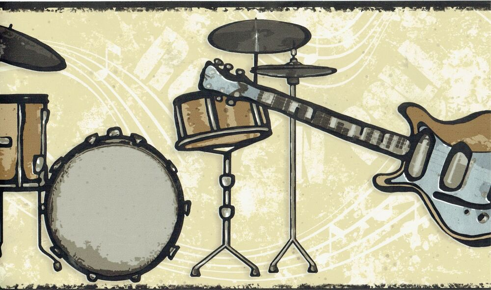 Music Room Bands Guitar Drums And Notes Wallpaper Wall