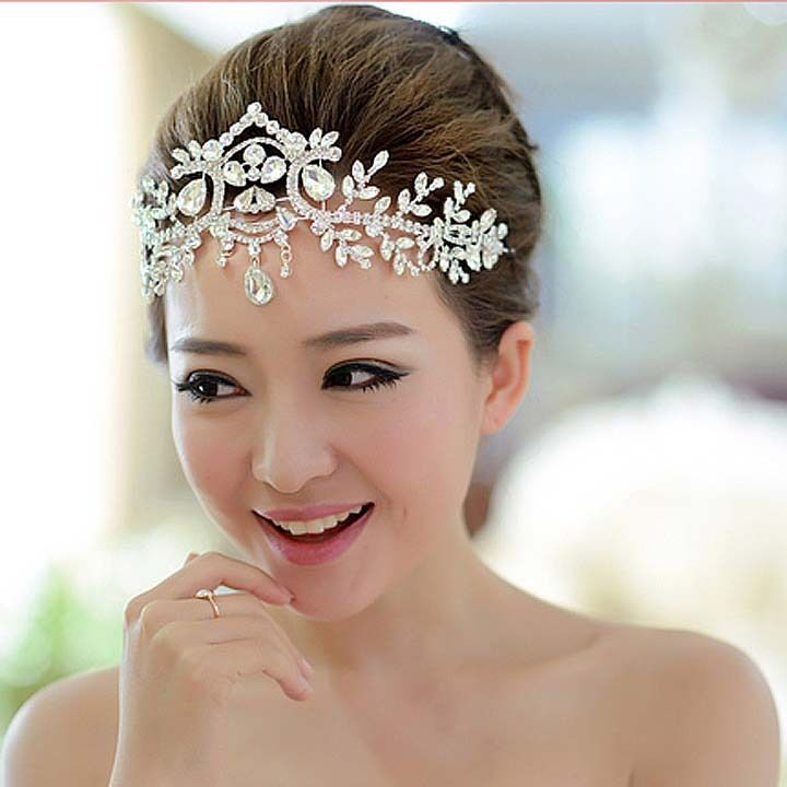 Headpieces For Wedding: Bridal Rhinestone Crystal Dangle Topknot Necklace Forehead