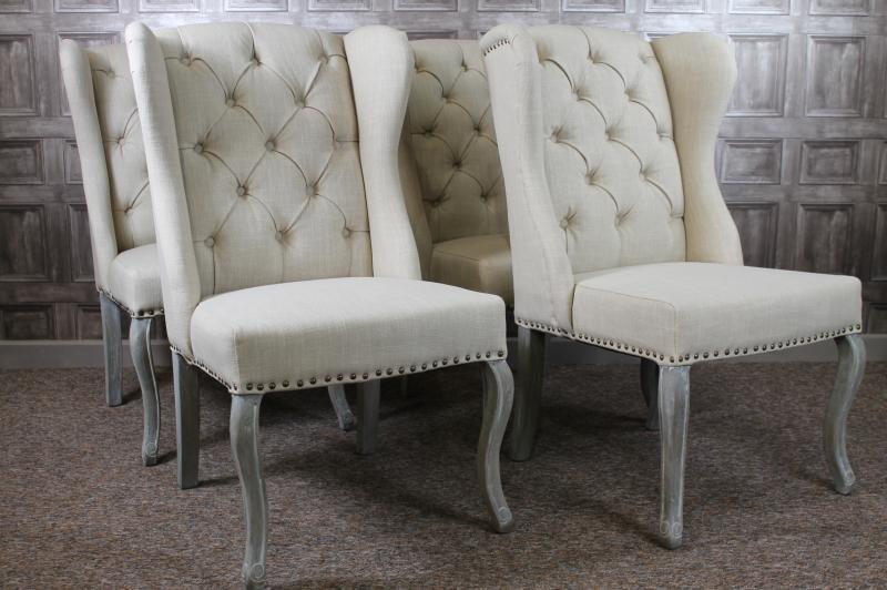 FRENCH STYLE BUTTON BACK WINGED DINING CHAIRS IN CREAM  : s l1000 from www.ebay.co.uk size 800 x 532 jpeg 57kB