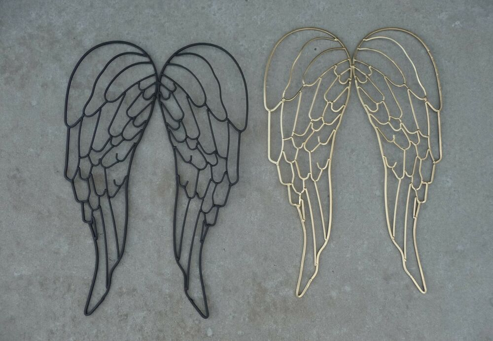Wrought Iron Metal Angel Wings Large Wall Decor Sculpture