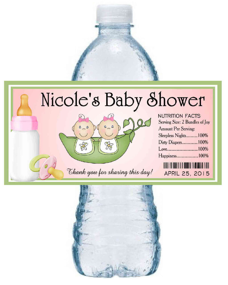 20 TWO PEAS IN A POD TWINS BABY SHOWER WATER BOTTLE LABELS