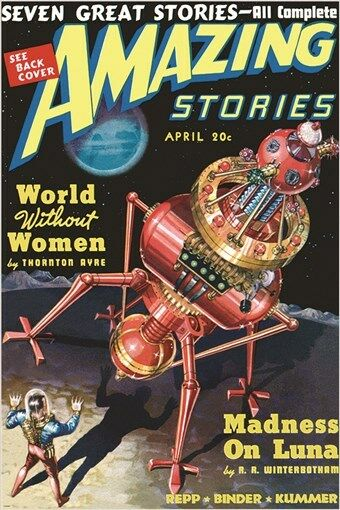 Modern Sci Fi Book Covers : Amazing stories vintage comic book cover poster april