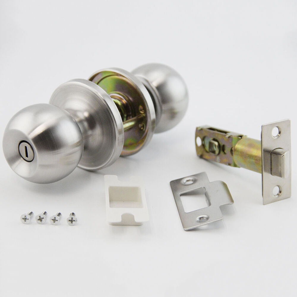 Satin Nickel Privacy Door Knob Set For Bed And Bath Ebay