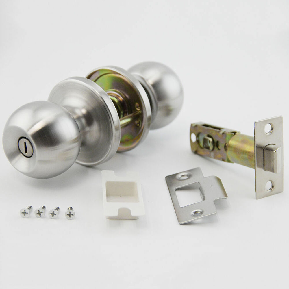 Bathroom Shower Knobs: Satin Nickel Privacy Door Knob Set For Bed And Bath