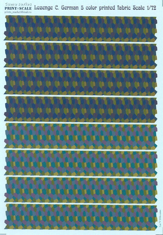 Print Scale Decals 1 72 German WWI 5 COLOR LOZENGE CAMOUFLAGE