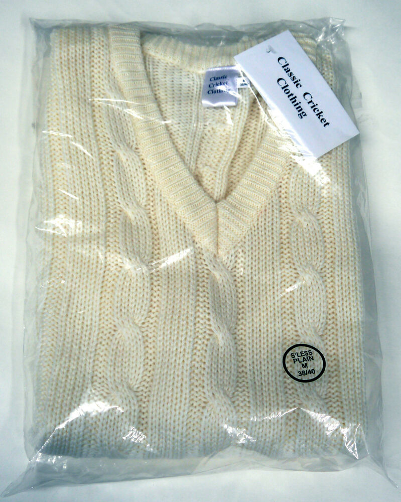 Knitting Pattern For Cricket Sweater : Classic Cricket Sleeveless Knitted Sweater Jumper Adults Small Large XL eBay