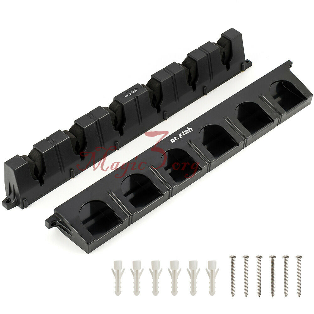 Rod rack reel combos storage holder pole vertical car wall for Fishing rod rack