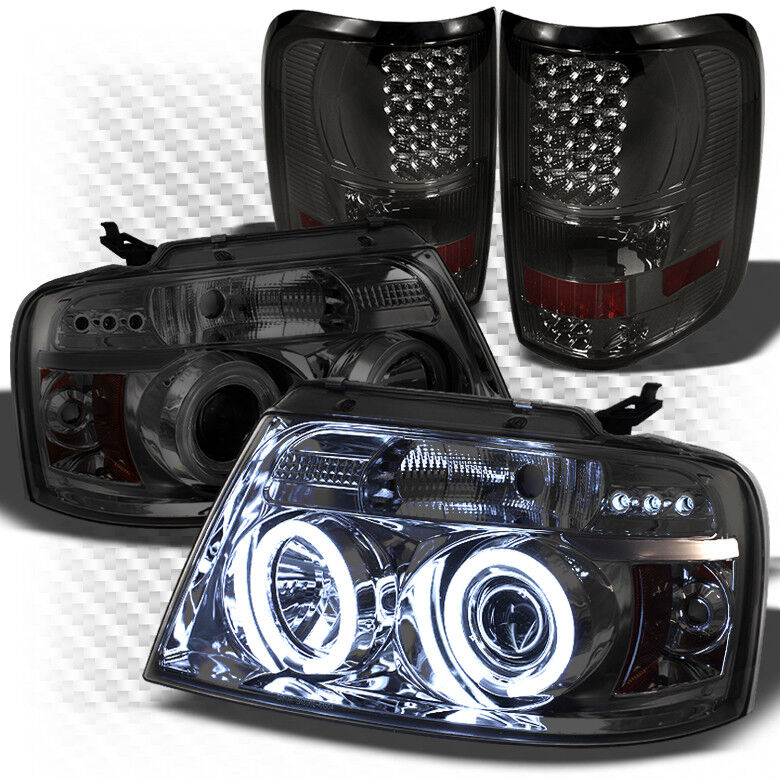 For 04 08 F150 Smoked Ccfl Halo Projector Headlights Led