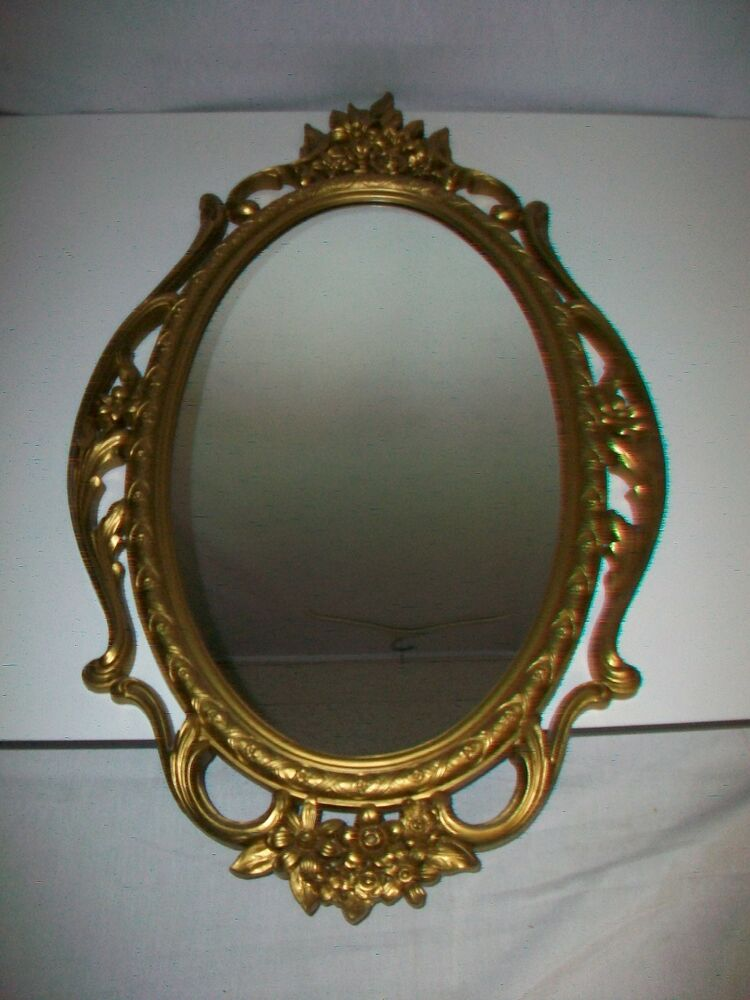 1965 SYROCO Gold Colored Wall Mirror Ornate Floral Decoration | eBay