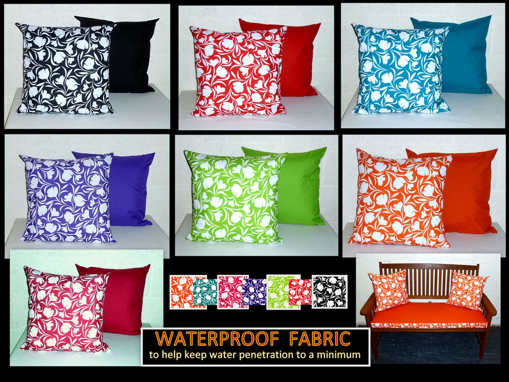 2x reversible waterproof fabric scatter cushion covers. Black Bedroom Furniture Sets. Home Design Ideas