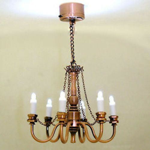 Mini Battery Operated Copper Finish Candle Chandelier