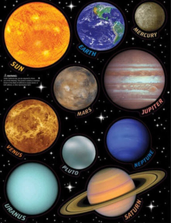 SOLAR SYSTEM wall stickers 10 SPACE decals planets with name scrapbook Earth