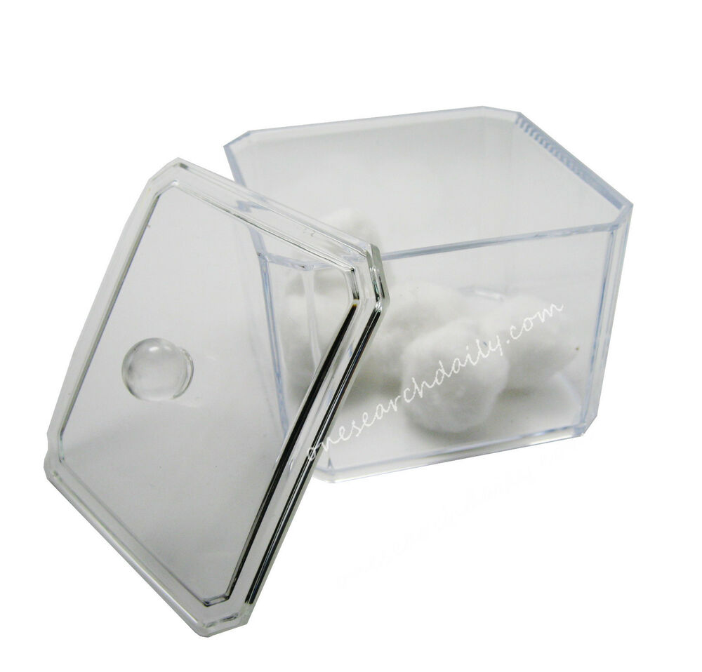 Acrylic Storage Cotton Ball Swab Pad Organizer Holder