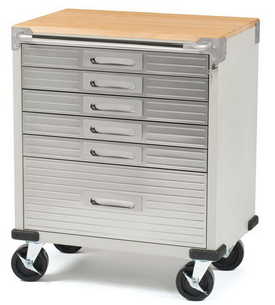 New Stainless Steel 6 Drawer Rolling Tool Chest Box