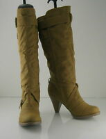 """TAN  3"""" high heel round toe side buckle sexy mid-calf boot   .Size ... 7"""