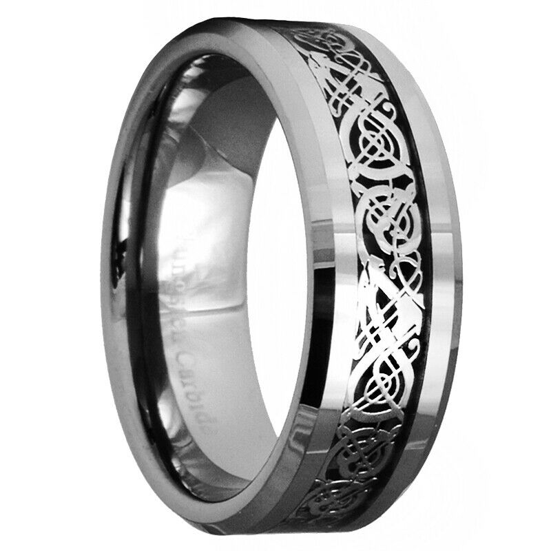 Celtic Dragon Tungsten Carbide Ring Mens Jewelry Wedding Band Silver New 7 15