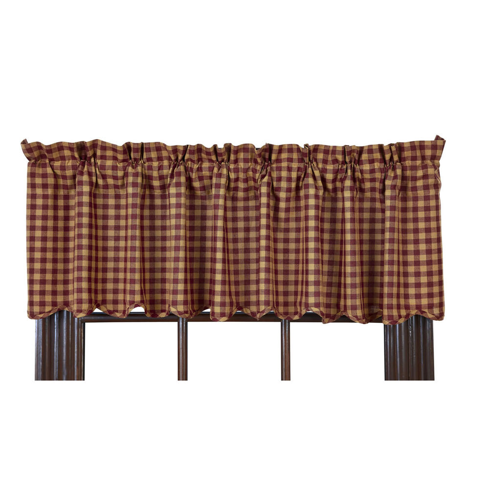 "BURGUNDY CHECK SCALLOPED LINED VALANCE 16X72"" BURGUNDY KHAKI CHECK ..."