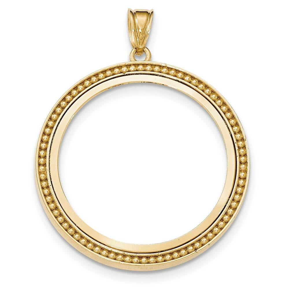 14k Yellow Gold Beaded Polished Prong Bezel Coin Holder For 1 Oz American Eagle Ebay