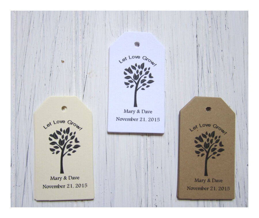 Wedding Favor Tags, Let Love Grow, Personalized, Seed