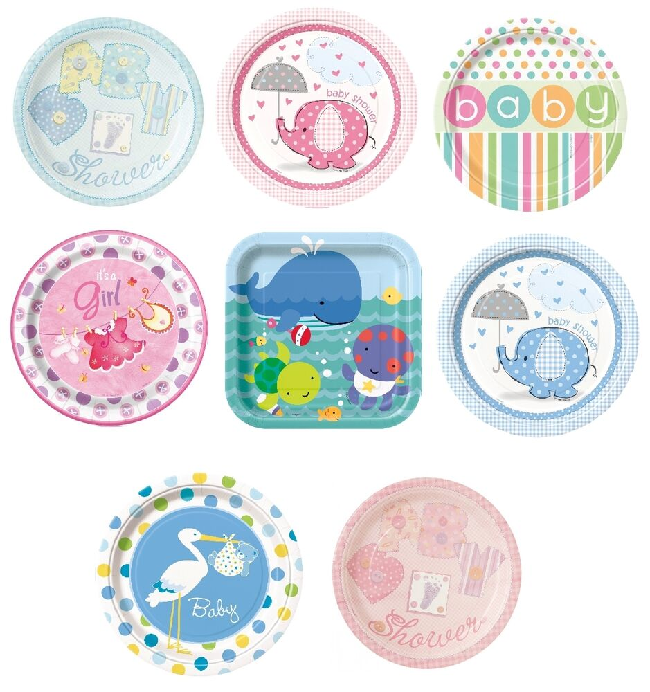 """Baby Shower Plate: Baby Shower 8 Large Paper Plates 9"""" (Boy/Girl/Party"""