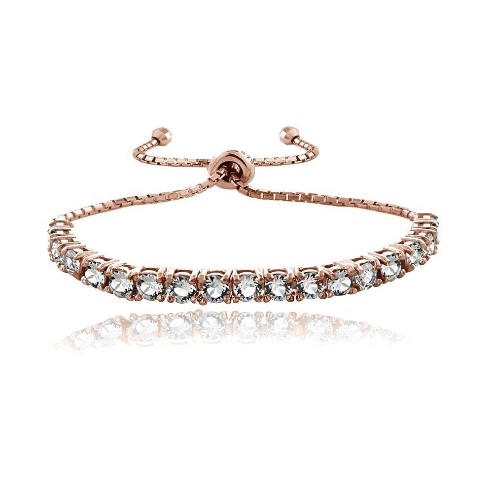 Gold Jewelry Bracelets: 18K Rose Gold Over Sterling Silver Swarovski Elements