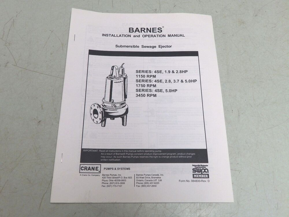 Barnes Series 4se Pump Submersible Sewage Ejector