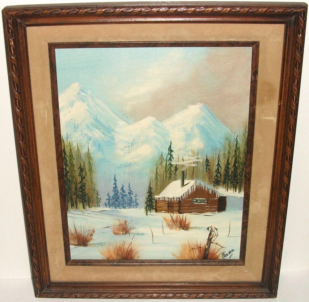 Freeman snow mountain landscape log cabin oil on canvas for Log cabin painting