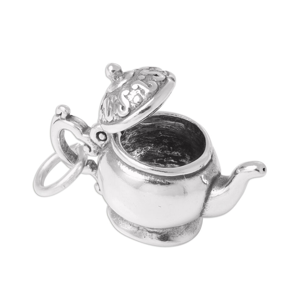 TheCharmWorks Sterling Silver 3D Teapot Charm DG3iJu54