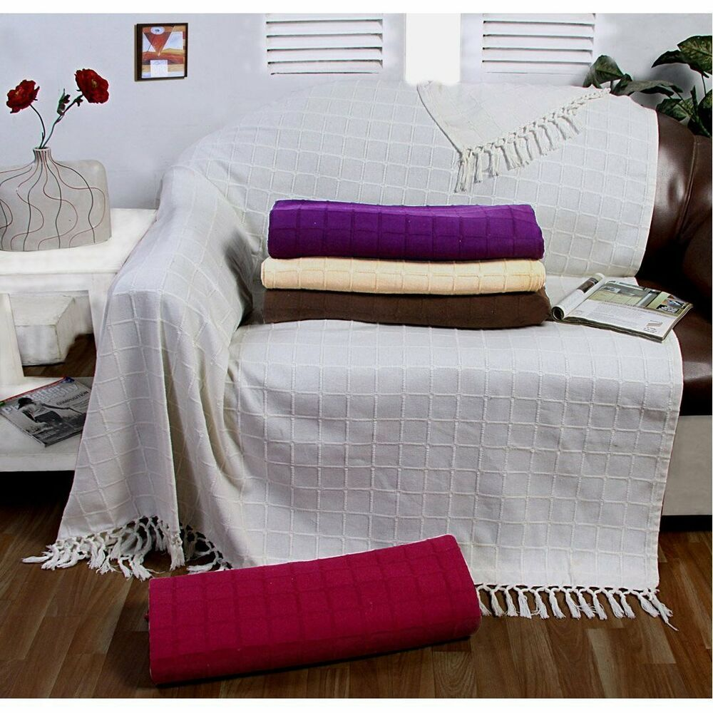 Large 100 cotton sofa throw batten woven 1 2 3 seater bed arm chair cover new ebay Large couch bed