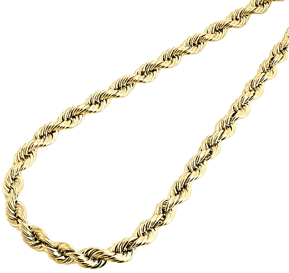 10k yellow gold mens or ladies hollow rope chain necklace for 10k gold jewelry
