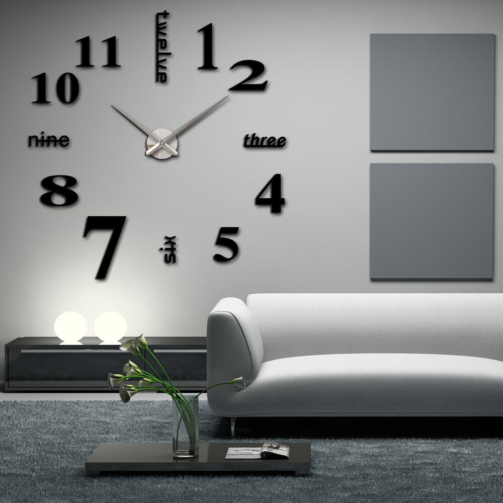 large wall clock 3d mirror sticker big watch home decor uniq