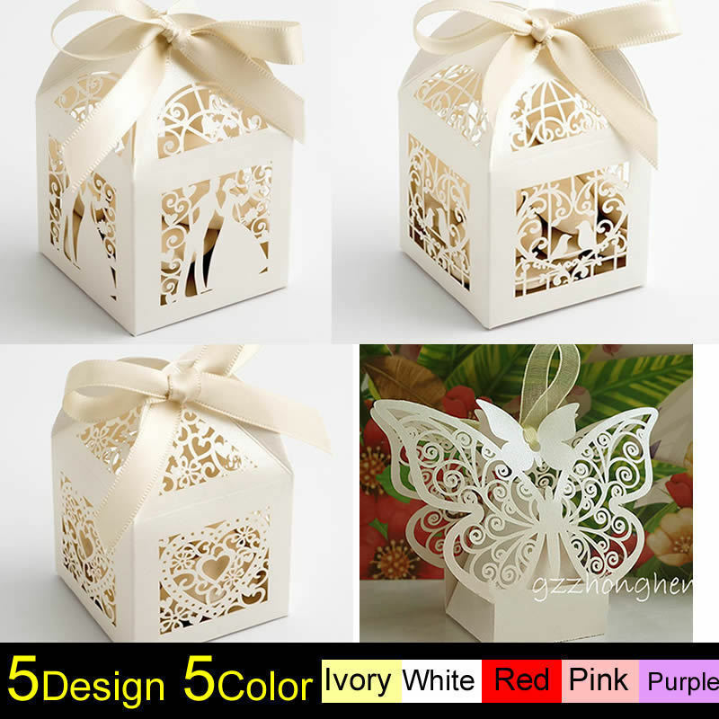 Wedding Gifts Boxes: 1-100PCS Luxury Wedding Party Sweets Cake Candy Gift