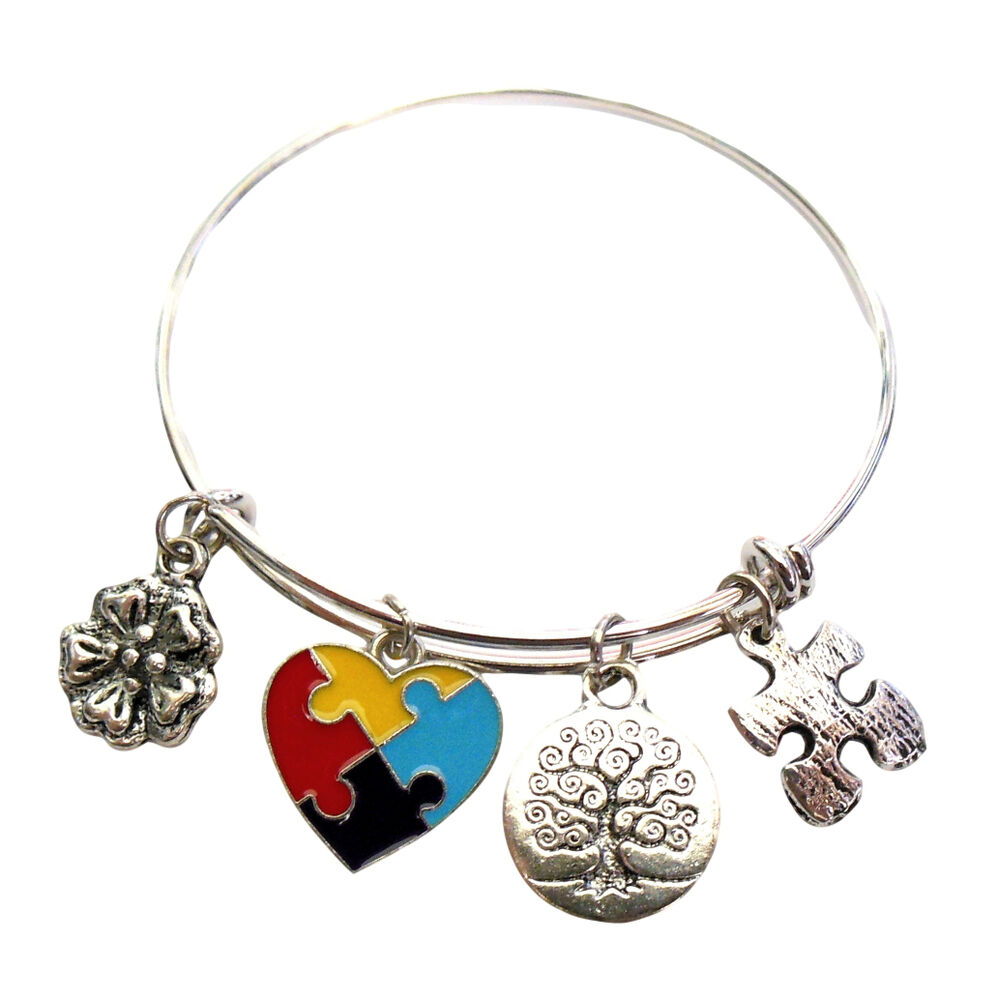 Wire Bracelets With Charms: Autism Awareness Bracelet Puzzle Piece Charms Silver Wire